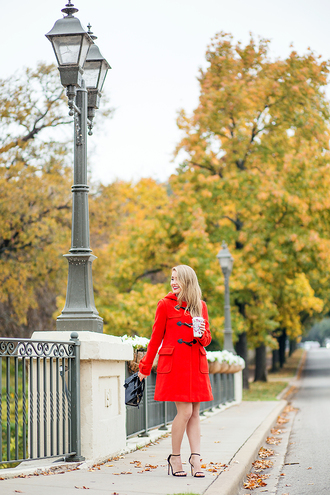 a lonestar state of southern blogger coat shoes bag red coat fall outfits sandals high heel sandals