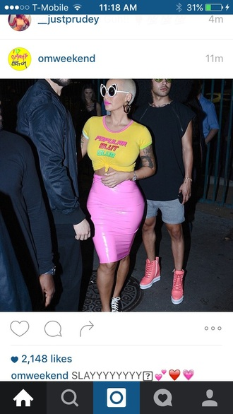 skirt amber rose o-mighty leather pink long tight tight skirt fitted maxi skirt pencil skirt