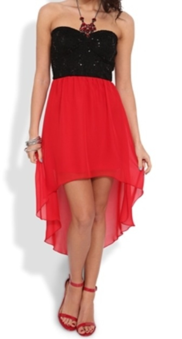 dress high-low dresses chiffon dress red and black hi lo dresses