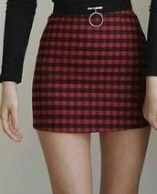 skirt,plaid,red,black,korean fashion,ulzzang,plaid skirt,mini skirt,red skirt,red and black plaid