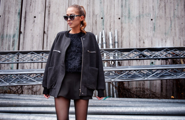 sweater texture sweater bomber jacket jacket grey jacket winter sweater kenza kenza blue sweater black skirt skirt