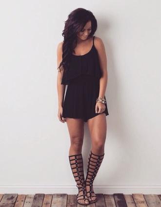 shoes black sandals gladiators studded romper