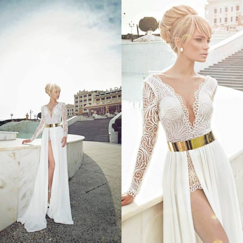 Custom Made V Neck See through Sheer Lace White High Side Slit Long Sexy Gold Belt White 2014 Long Sleeve prom Dress-in Prom Dresses from Apparel & Accessories on Aliexpress.com
