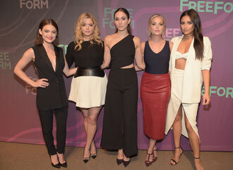 skirt midi skirt pants lucy hale shay mitchell hanna marin spencer hastings troian bellisario pretty little liars sasha pieterse emily fields ashley benson aria montgomery alison dilaurentis asymmetrical jumpsuit mini skirt blazer bandeau bralette crop tops spring outfits jacket