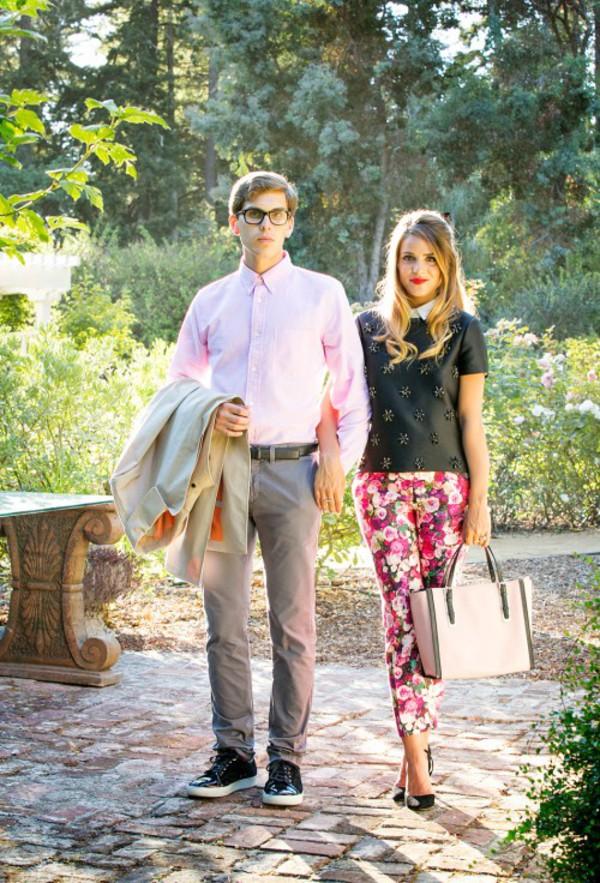 gal meets glam blogger top bag shoes jacket boyfriend printed pants