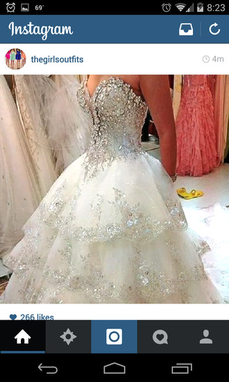 dress white white dress crystal dress ballgown wedding dress ball gown wedding dresses crystal wedding dress