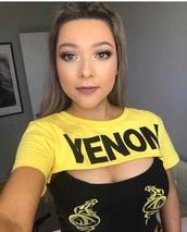 top,venom,crop tops,yellow,festival,t-shirt