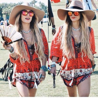 vanessa hudgens indie boho pattern red romper dress
