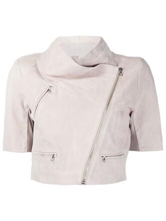 jacket leather jacket cropped leather nude