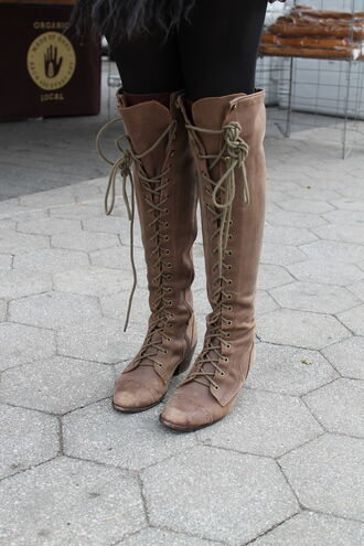 shoes boots botas bottes chaussures zapatos lace up tie up heels flats high tall knee high cross lace brown rustic vintage outdoors scuffed witch wicca fall outfits