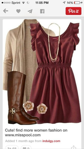 cardigan beige burgundy boots dress