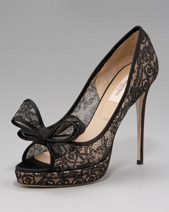 Valentino Couture Lace Platform Pump - Neiman Marcus