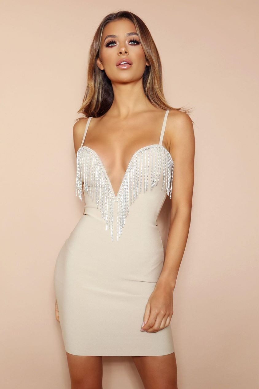 The Milana Beige Diamante Bandage Mini Dress