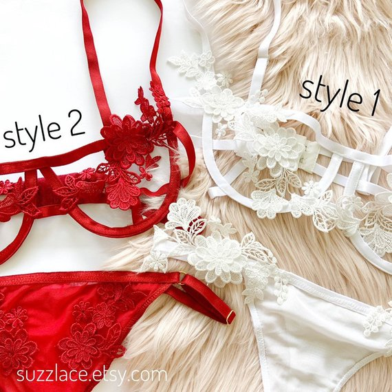 Embroidery Floral Lace Lingerie, Boho Clothing, Sheer Thong, Bridal Lingerie Set, White Lace Bralette, Red Wedding Lingerie, Plus Size Bra
