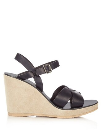 sandals wedge sandals leather suede dark navy shoes