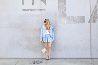 caroline louis pardonmyobsession blogger shoes bag blue blazer blue jacket light blue mini skirt blue skirt nude bag mini bag flats