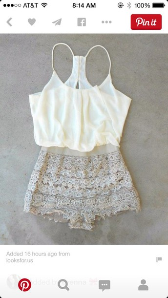 romper cute lace white cream spring summer lovely love shorts tank top flowy