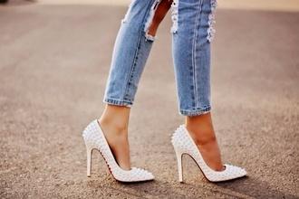 shoes white pearl studs heels high heels jeans pumps trendy