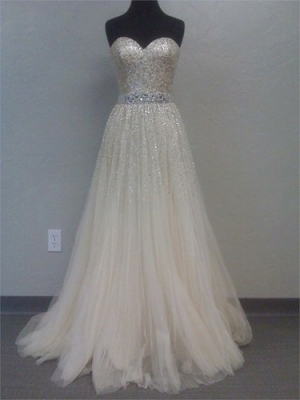 Line sweetheart sweep train tulle prom dress with sequins under 400