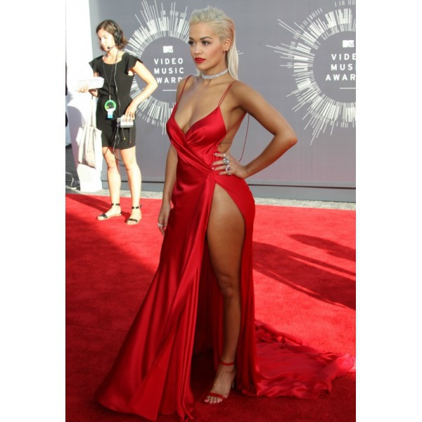 Dress: rita ora, red dress, sexy, blonde hair, tan, silk, prom ...