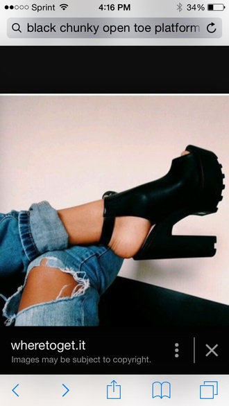 shoes black chunky platform shoes open toes