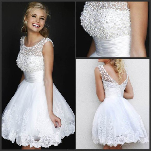 prom dress ball gown short dress a-line dresses white dresses homecoming dresses short prom dresses 2014 empire waist dress beaded lace v-back cocktail dress