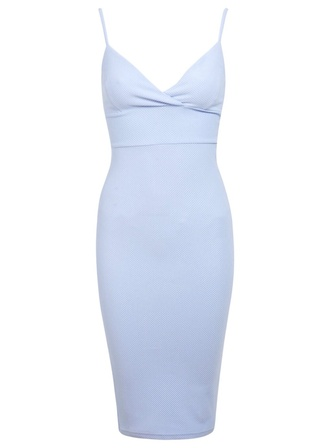 skimpy light blue lavender blue spaghetti strap bodycon knee length soft glamour clubwear dressy style