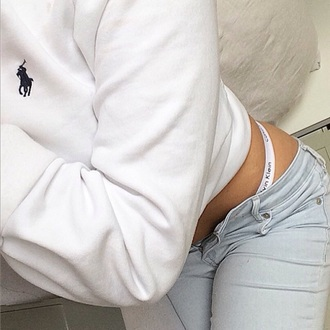 sweater polo shirt blue ralph lauren nike clothes calvin klein underwear calvin klein white jumper sweatshirt light blue skinny jeans jeans