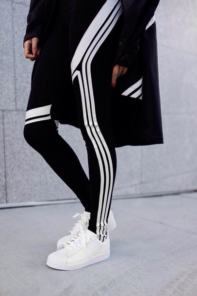 leggings black and white leggins. health goth black leggings sportswear sports leggings sneakers white sneakers adidas adidas shoes adidas superstars