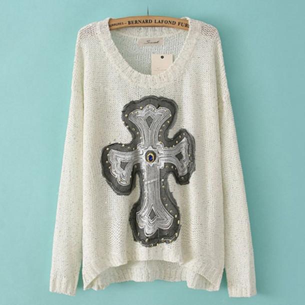sweater retro rhinestones
