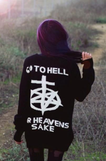 sweater grunge rock punk punk rock hell go alien cool pop punk
