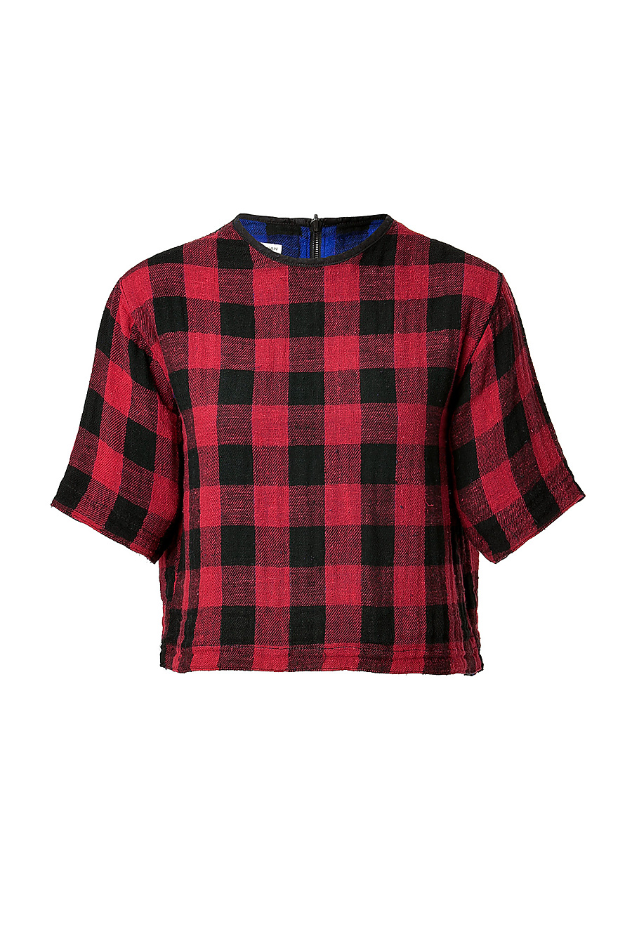 Checked cotton reversible crop top