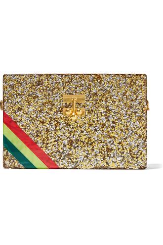 clutch stripes gold bag