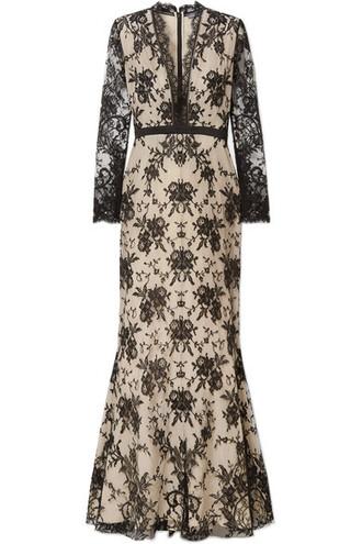 gown lace cotton black satin dress