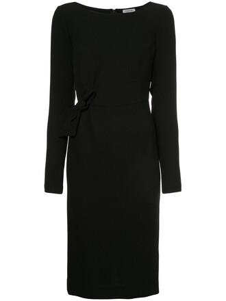 dress midi dress bow women midi spandex black wool
