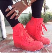shoes,converse,pink,pink converse,high top converse,neon shoes,sneakers,neon pink