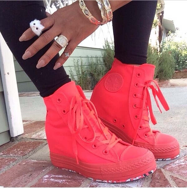 shoes converse pink pink converse high top converse neon shoes sneakers neon pink