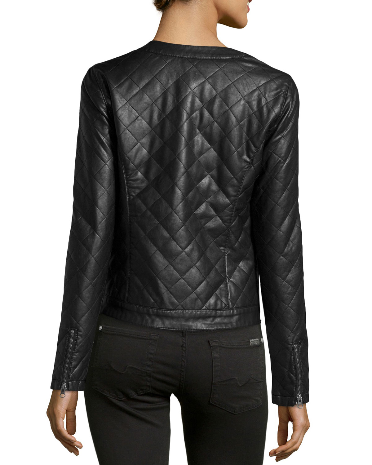 Quilted Faux-Leather Jacket, Black