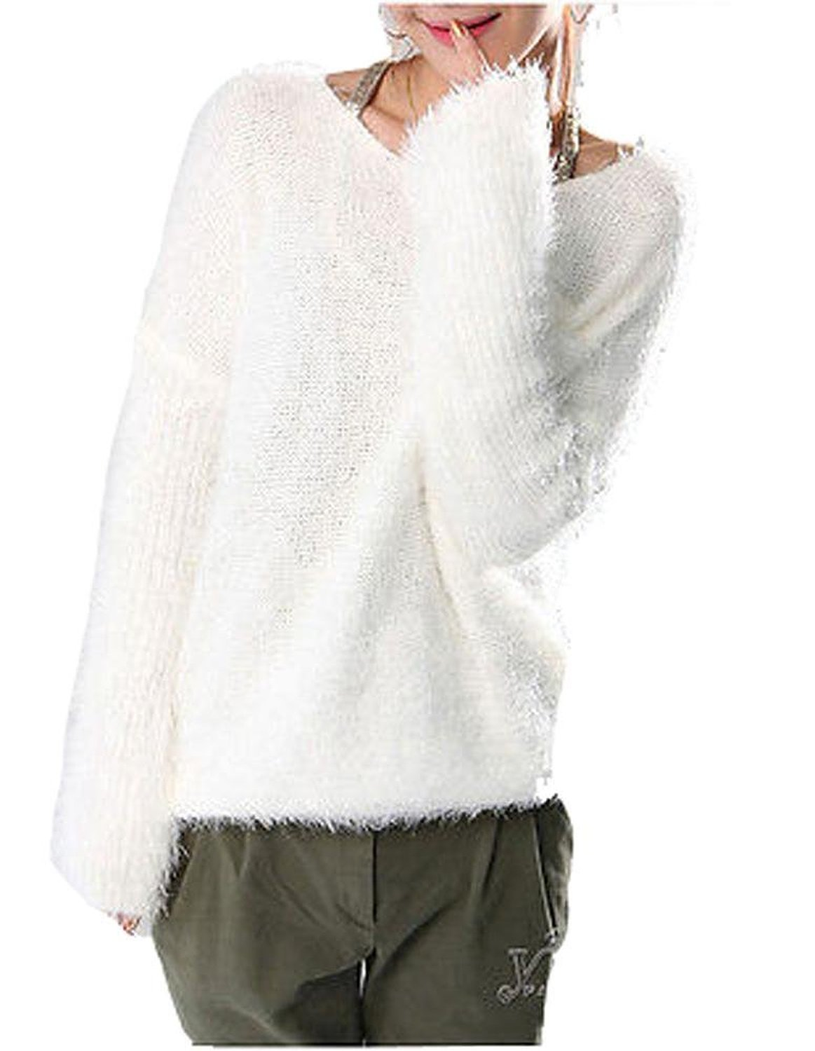 Ladies warm thick batwing sleeve fuzzy free sweater at amazon women's clothing store: