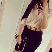 skirt,blouse,pencil skirt,belt,outfit,black pencil skirt,dress,cute dress,black,classy,gold,girl,style,fashion,champagne,hot,nude,cream,cream/white