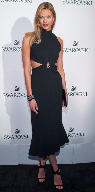 dress black dress midi dress karlie kloss cut-out dress bracelets clutch