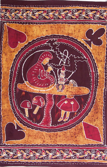 Alice, the caterpillar, and suits of cards tapestry