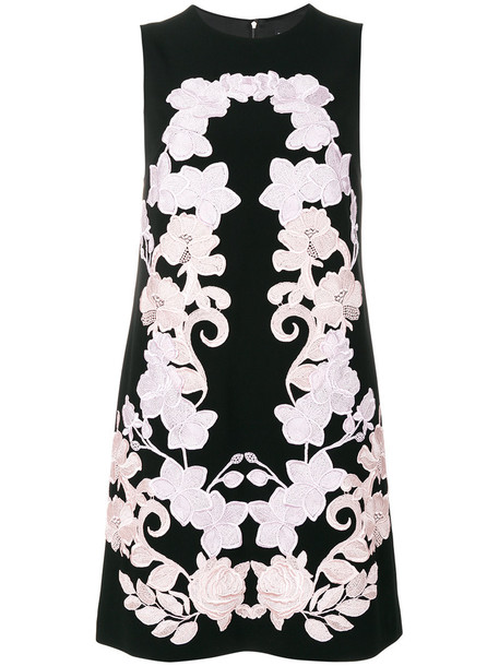 dress shift dress embroidered women spandex floral black silk