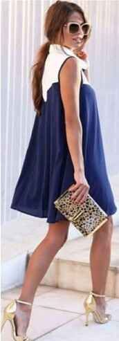 dress,blue and white,blue dress,mini dress
