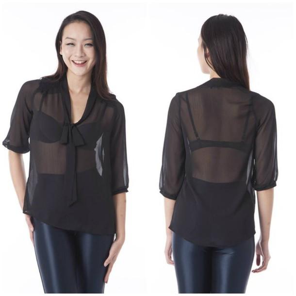 blouse black black blouse black chiffon bow