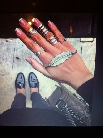 jewels ring hand rings feather trident pretty prom platinum leaf beautiful jewelry accessories