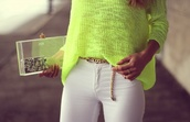 bag,purse,see through,fluo,yellow,sweater,belt,neon,green,blouse,neon yellow,neon blouse,gold belt,clutch,trasparent clutch,pants,white pants,style