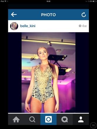 swimwear belle-kini gold swimsuit snake print