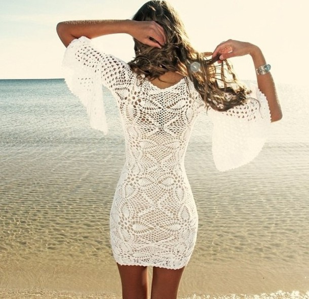 Dress: lace dress, white dress, white lace dress, white ...