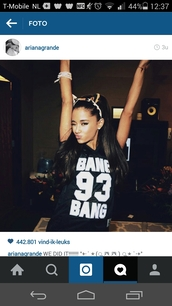 shirt,ariana grande,honeymoon,black,jersey,t-shirt,hair accessory,bang bang tshirt